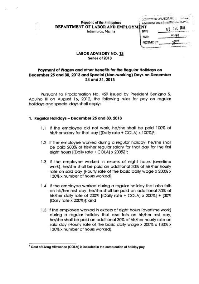 Labor Advisory for the 2013 Holiday Season