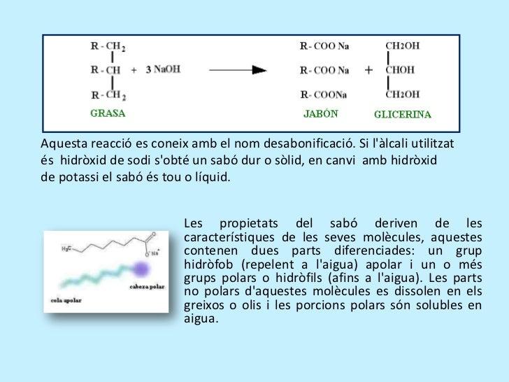 Aquestareaccióesconeixambelnomdesabonificació.Si l'àlcaliutilitzat<br />és hidròxiddesodi s'obtéun sabódur...