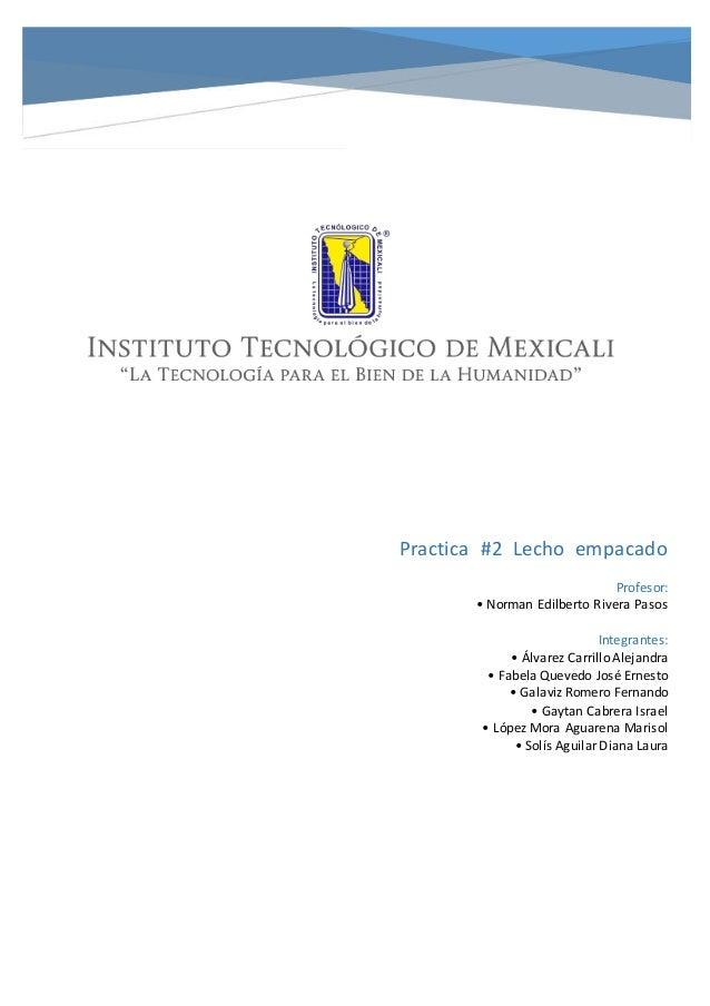 Practica #2 Lecho empacado Profesor: • Norman Edilberto Rivera Pasos Integrantes: • Álvarez Carrillo Alejandra • Fabela Qu...