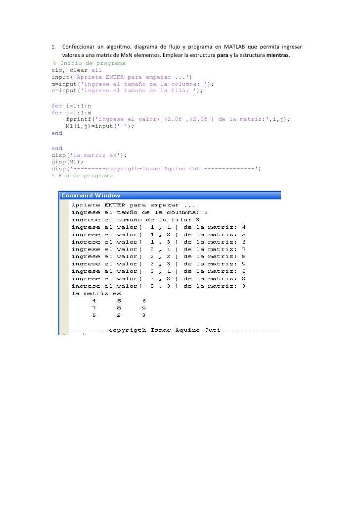 Confeccionar un algoritmo, diagrama de flujo y programa en MATLAB que permita ingresar valores a una matriz de MxN element...