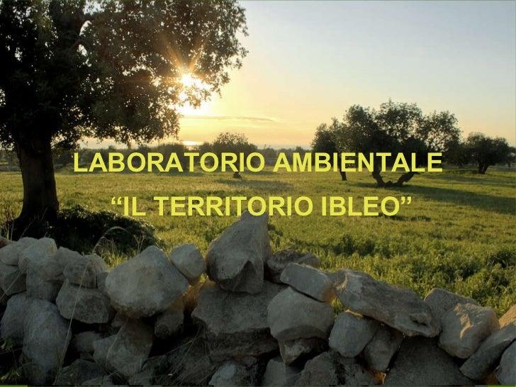 """LABORATORIO AMBIENTALE  """" IL TERRITORIO IBLEO"""""""