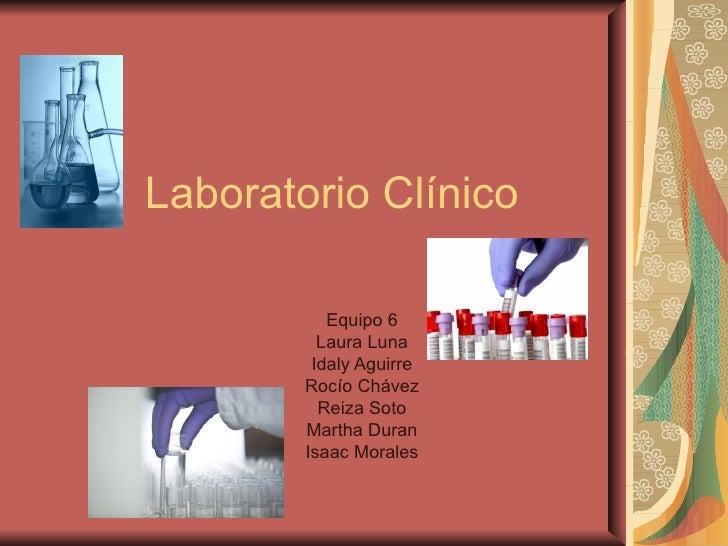 Laboratorio Clínico           Equipo 6          Laura Luna         Idaly Aguirre        Rocío Chávez          Reiza Soto  ...