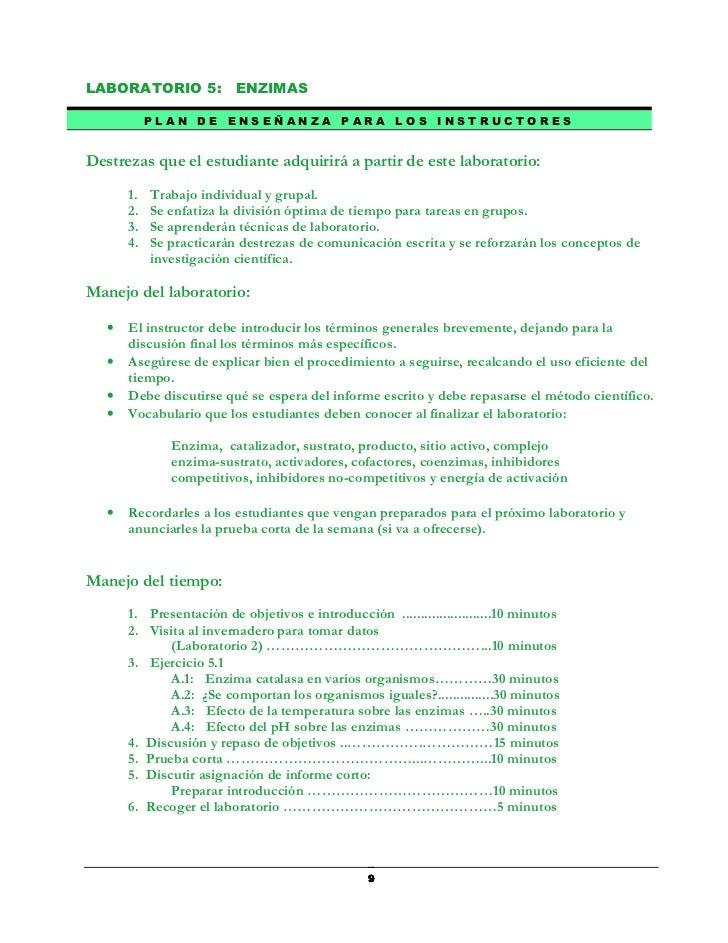 LABORATORIO 5: ENZIMAS            PLAN DE ENSEÑANZA                PARA LOS         INSTRUCTORESDestrezas que el estudiant...