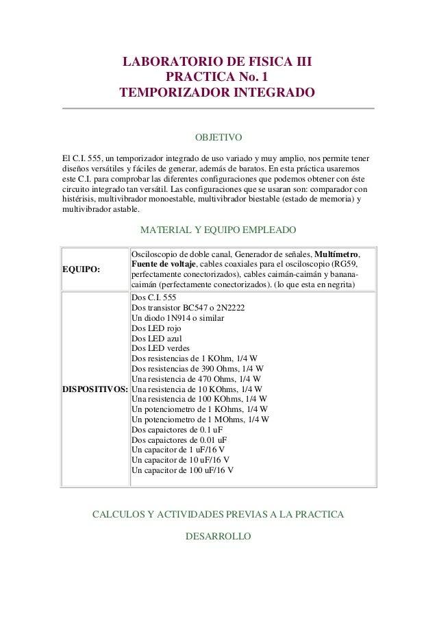 LABORATORIO DE FISICA III                    PRACTICA No. 1               TEMPORIZADOR INTEGRADO                          ...
