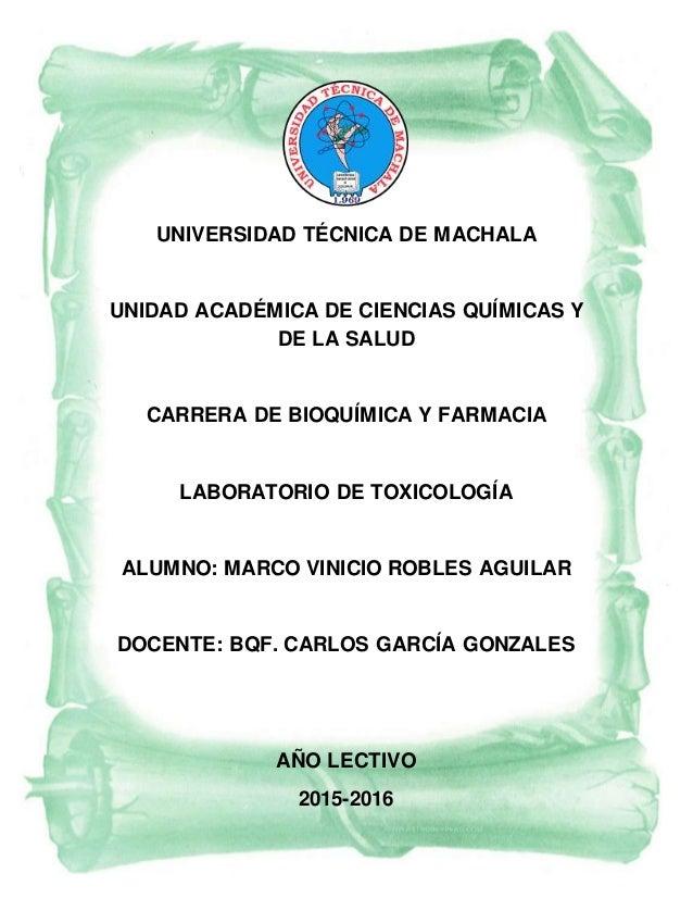 UNIVERSIDAD TÉCNICA DE MACHALA UNIDAD ACADÉMICA DE CIENCIAS QUÍMICAS Y DE LA SALUD CARRERA DE BIOQUÍMICA Y FARMACIA LABORA...