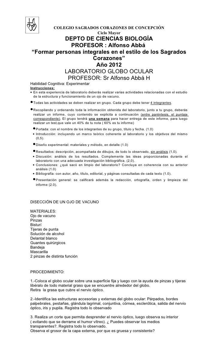 COLEGIO SAGRADOS CORAZONES DE CONCEPCIÓN                             Ciclo Mayor           DEPTO DE CIENCIAS BIOLOGÍA     ...