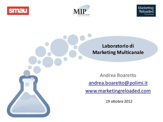 Laboratorio di  Marketing Multicanale     Andrea Boaretto andrea.boaretto@polimi.itwww.marketingreloaded.com        19 ott...