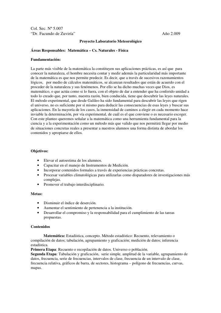 """Col. Sec. Nº 5.007""""Dr. Facundo de Zuviría""""                                                            Año 2.009           ..."""