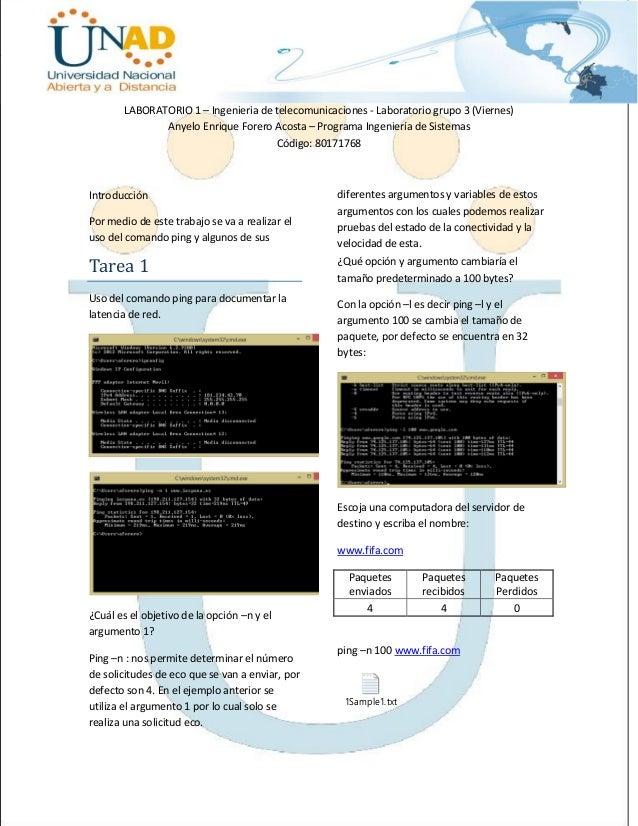 LABORATORIO 1 – Ingenieria de telecomunicaciones - Laboratorio grupo 3 (Viernes) Anyelo Enrique Forero Acosta – Programa I...