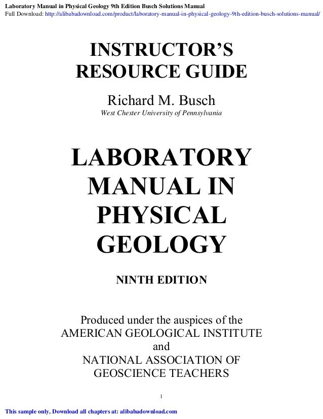 Laboratory Manual Physical Geology 9th Edition Laboratory Manual Guide