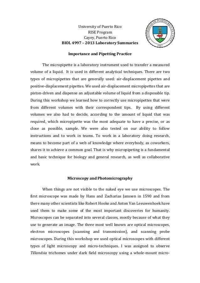 University of Puerto RicoRISE ProgramCayey, Puerto RicoBIOL 4997 – 2013 Laboratory SummariesImportance and Pipetting Pract...