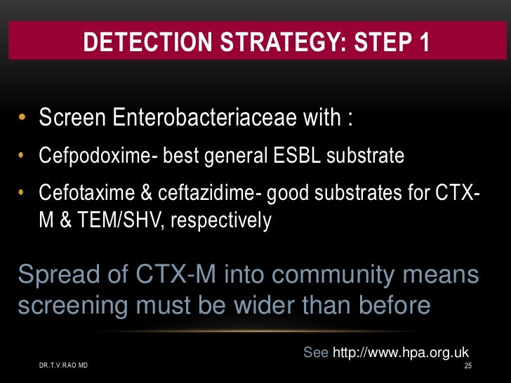Detection Strategy: step 1<br />Screen Enterobacteriaceae with :<br /><ul><li>Cefpodoxime- best general ESBL substrate