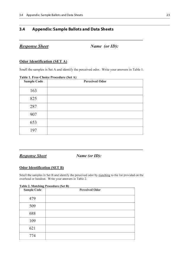 Laboratory exercises for sensory evaluation