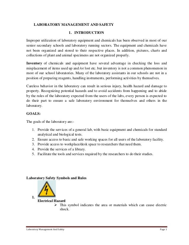 Physics lab safety booklet example essay