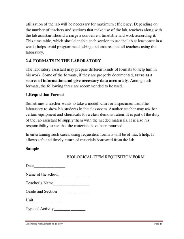 essay on school laboratory