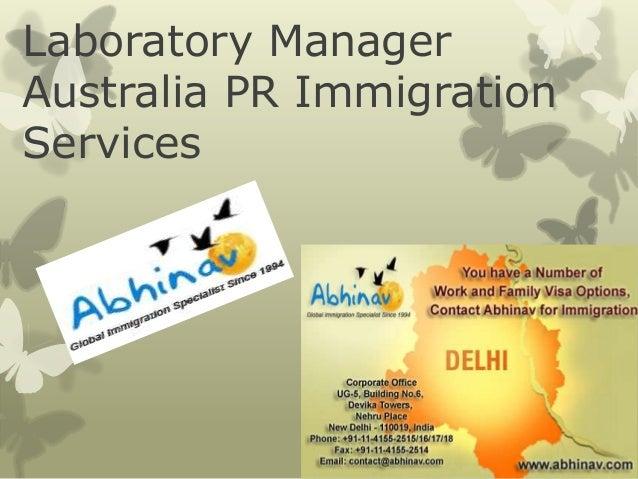Laboratory Manager Australia PR Immigration Services