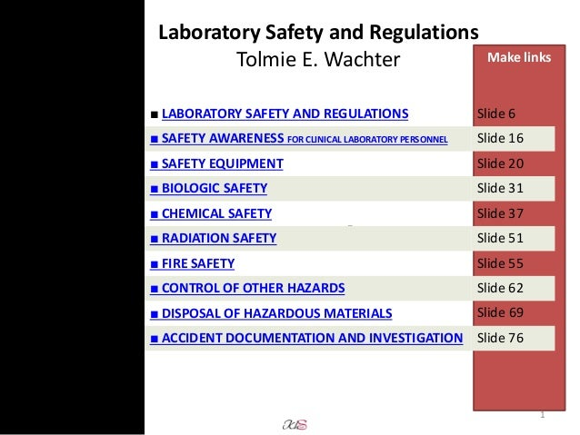 Laboratory safety presentation from text book (3rd