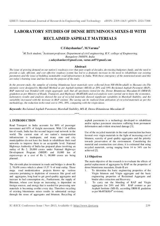 Laboratory studies of dense bituminous mixes ii with