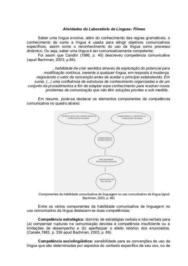 Atividades do Laboratório de Línguas: Filmes Saber uma língua envolve, além do conhecimento das regras gramaticais, o conh...
