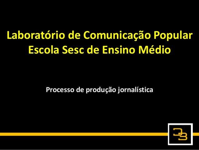 Laboratório de Comunicação Popular Escola Sesc de Ensino Médio Processo de produção jornalística