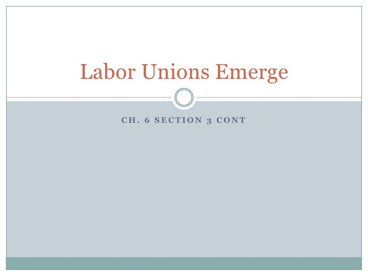 Ch. 6 Section 3 cont<br />Labor Unions Emerge<br />