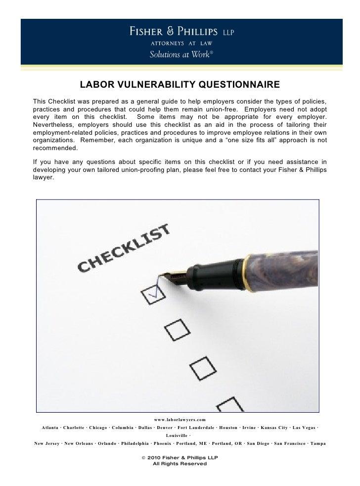 Labor Vulnerability Checklist September 2010