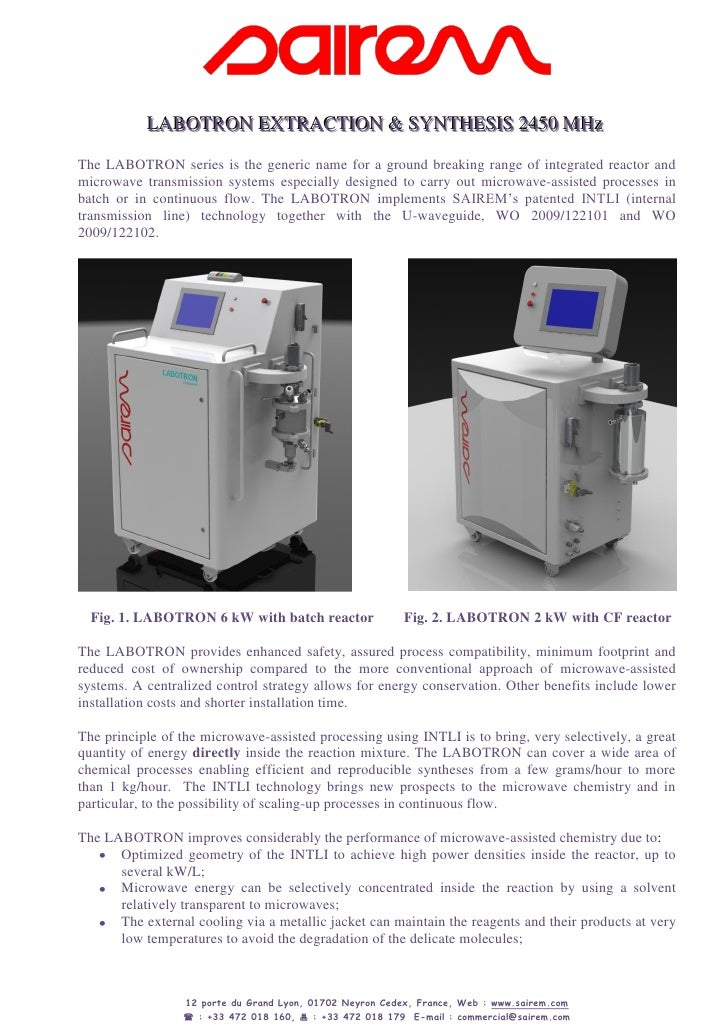 LABOTRON EXTRACTION & SYNTHESIS 2450 MHz            LABOTRON EXTRACTION & SYNTHESIS 2450 MHz The LABOTRON series is the ge...