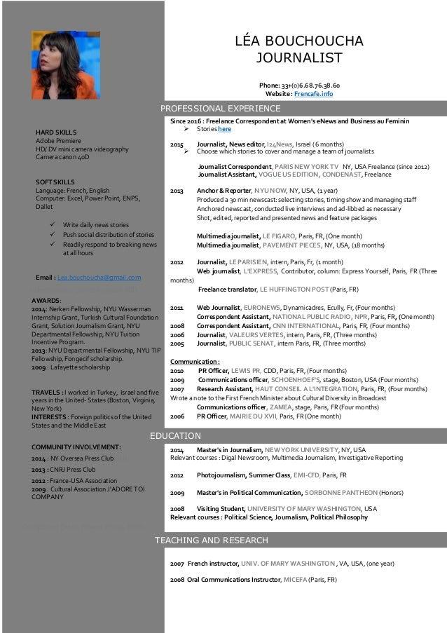 Adobe Premiere HD/ DV mini camera videography, camera canon 40D SOFT SKILLS V Language: French, English Computer: Excel, P...