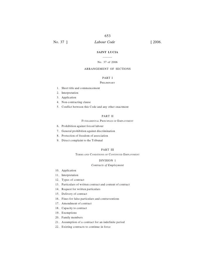 653No. 37 ]                        Labour Code                    [ 2006.                                 SAINT LUCIA     ...