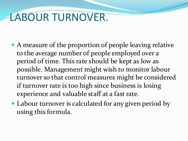 labour turnover Concepts and definitions average monthly recruitment rate during a quarter is  defined as the average number of persons recruited in a.