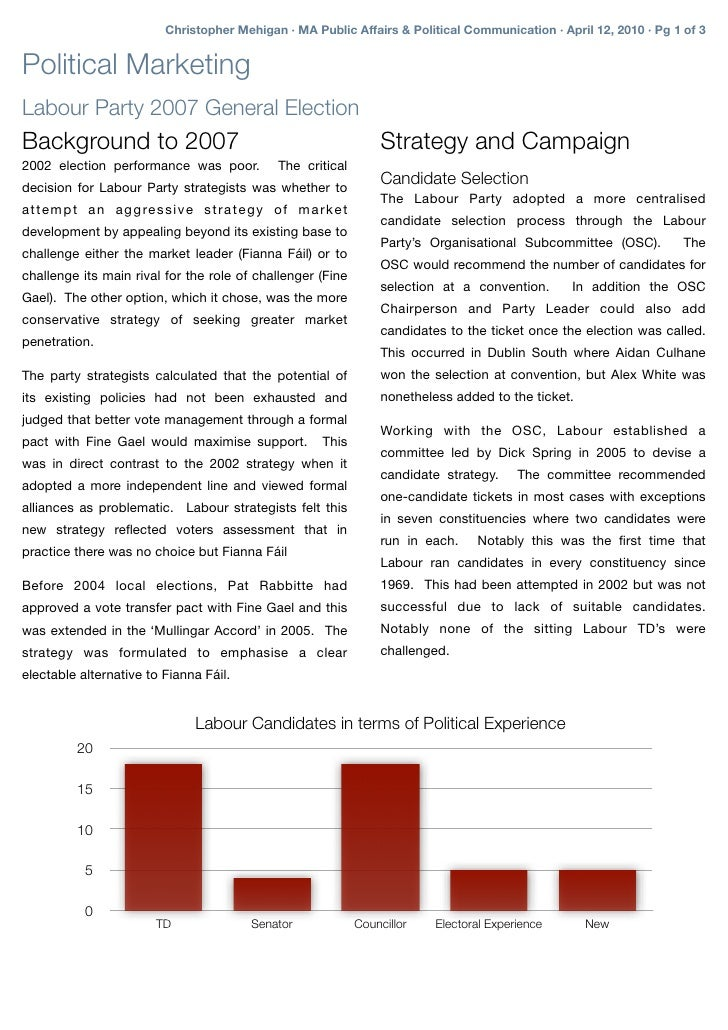 Christopher Mehigan · MA Public Affairs & Political Communication · April 12, 2010 · Pg 1 of 3   Political Marketing Labou...
