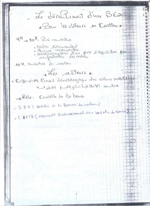 La bourse des valeurs casablanca (prise de notes)
