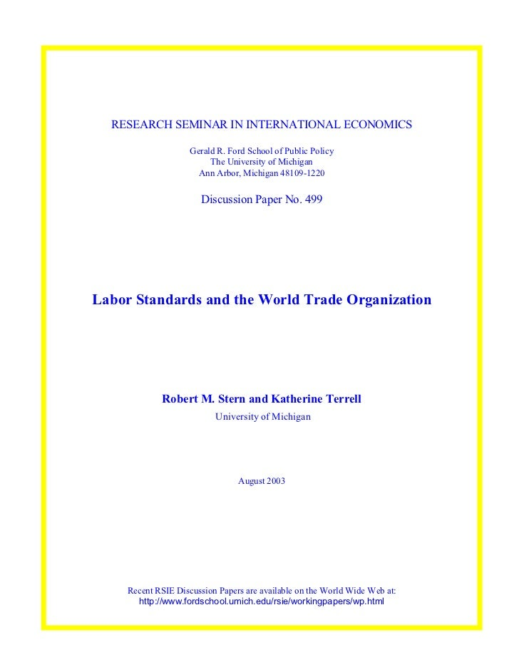 RESEARCH SEMINAR IN INTERNATIONAL ECONOMICS                    Gerald R. Ford School of Public Policy                     ...