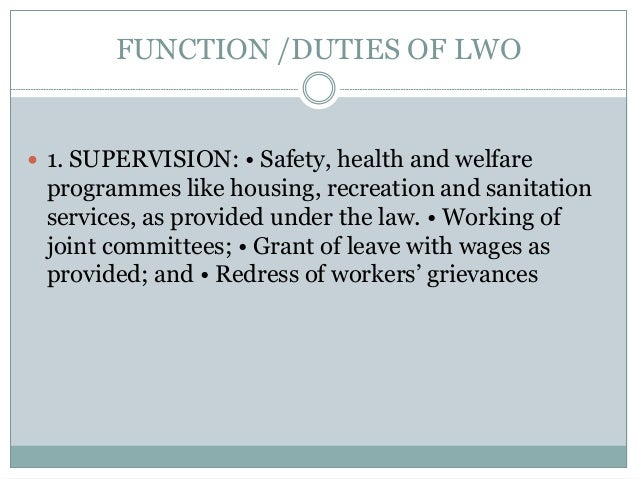 functions of welfare officer
