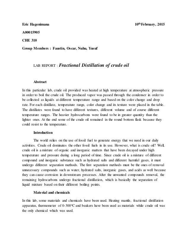 distillation report