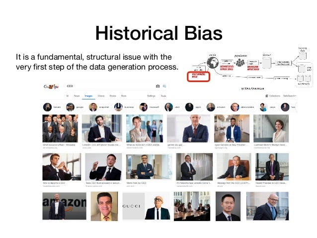 Historical Bias It is a fundamental, structural issue with the very first step of the data generation process.