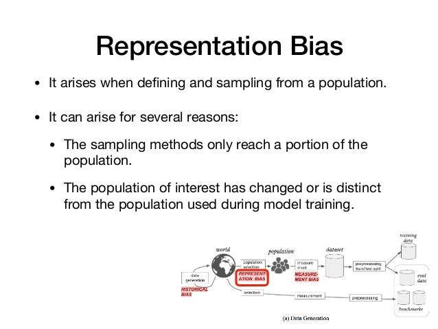 Representation Bias • It arises when defining and sampling from a population.   • It can arise for several reasons: • The s...