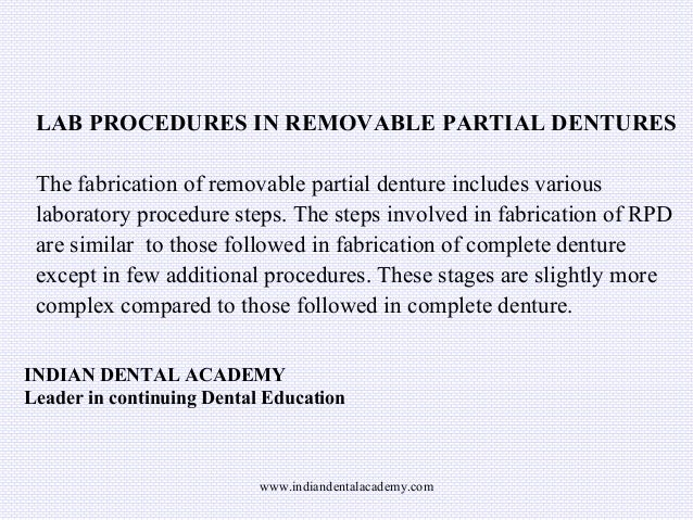 Lab procedures in rpd/ dental implant courses