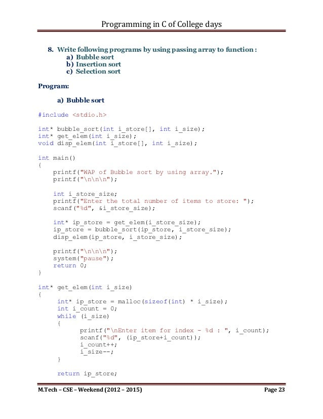 write a c program for selection sort using functions to graph