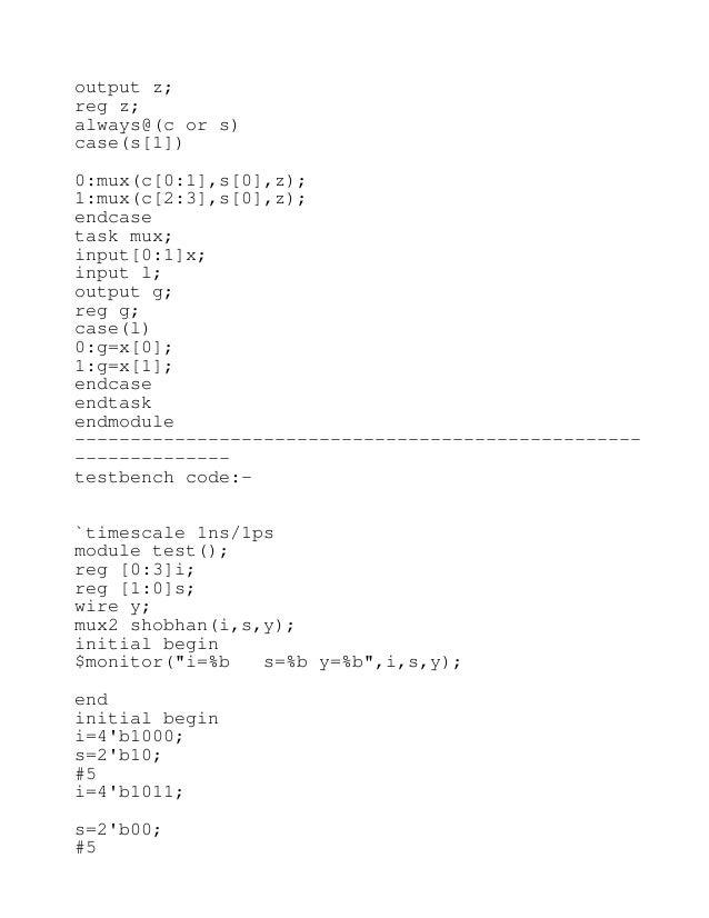 Verilog codes and testbench codes for basic digital