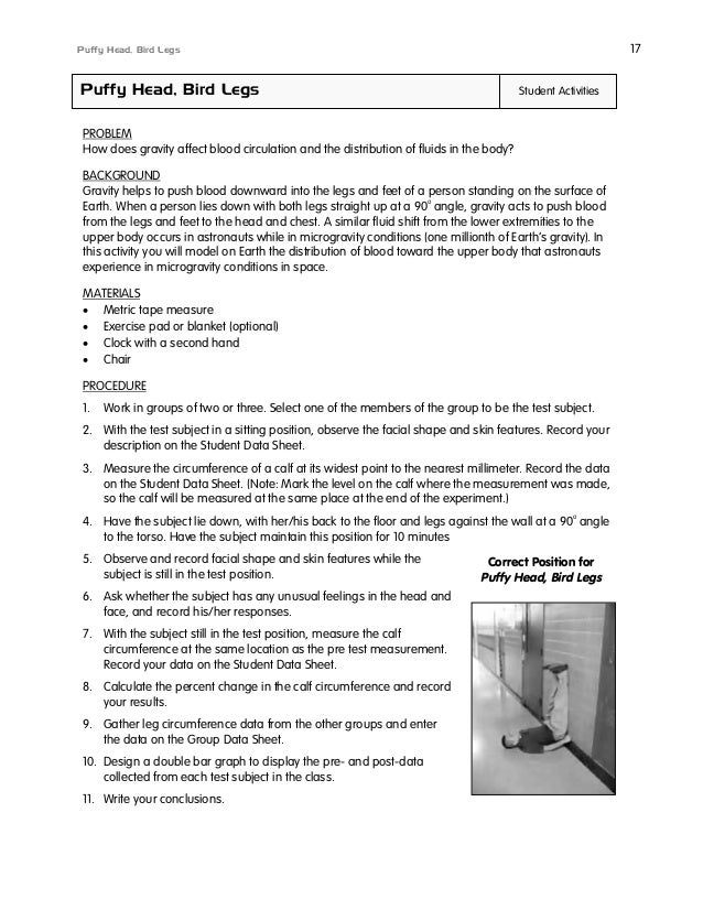 17  Puffy Head, Bird Legs  Puffy Head, Bird Legs  Student Activities  PROBLEM How does gravity affect blood circulation an...
