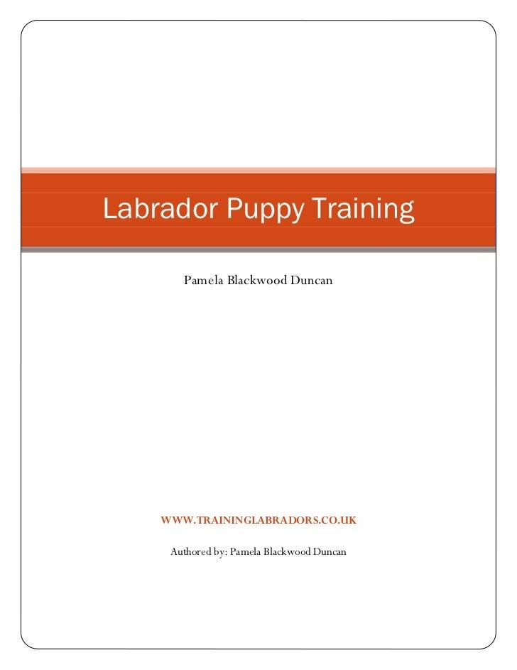 Labrador Puppy Training       Pamela Blackwood Duncan    WWW.TRAININGLABRADORS.CO.UK     Authored by: Pamela Blackwood Dun...