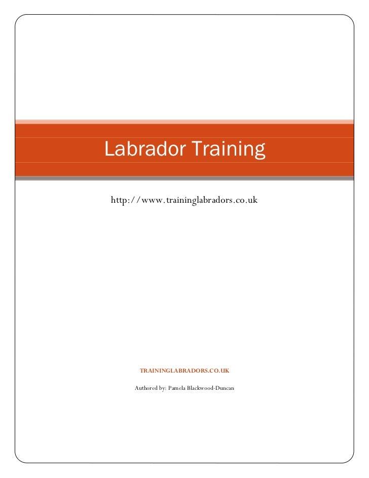 Labrador Traininghttp://www.traininglabradors.co.uk      TRAININGLABRADORS.CO.UK     Authored by: Pamela Blackwood-Duncan