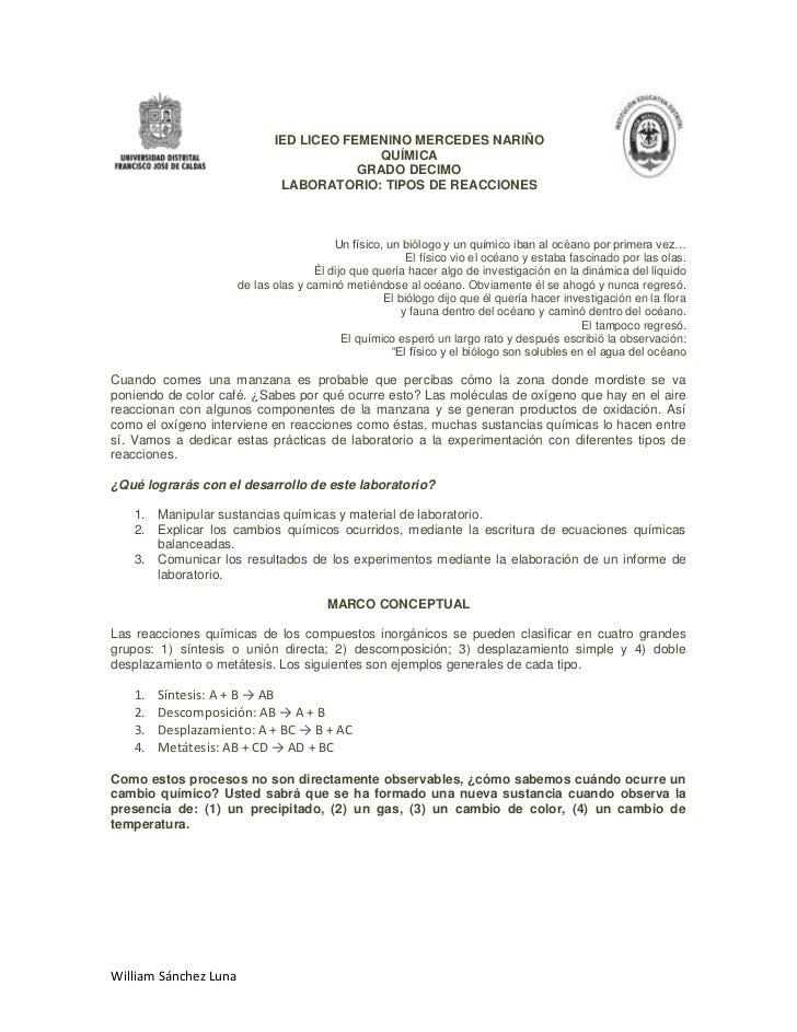 IED LICEO FEMENINO MERCEDES NARIÑO<br />QUÍMICArighttoplefttop<br />GRADO DECIMO<br />LABORATORIO: TIPOS DE REACCIONES<br ...