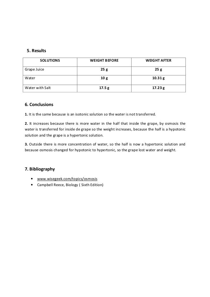 Lab report osmosis in grapes