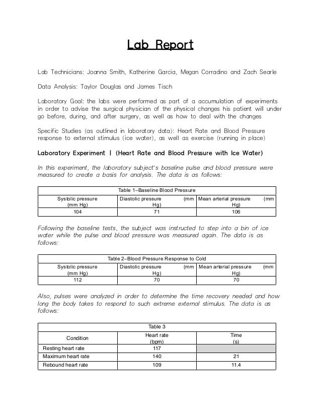 example of lab report