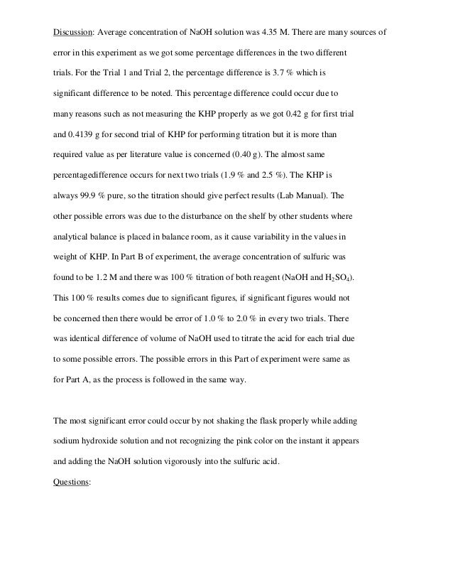 acid base titration lab report abstract