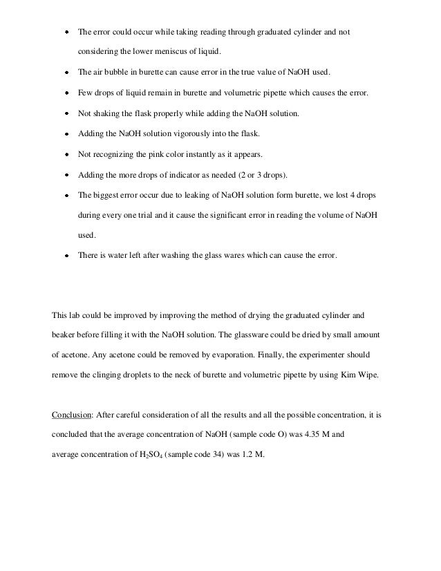 discussion acid base titration lab report