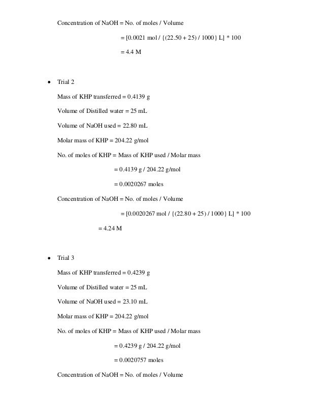 lab report for analysis of an acid by titration with sodium hydroxide Lab report 2 download lab report 2  solutions by using a technique called volumetric analysis or titration  a base called sodium hydroxide was.