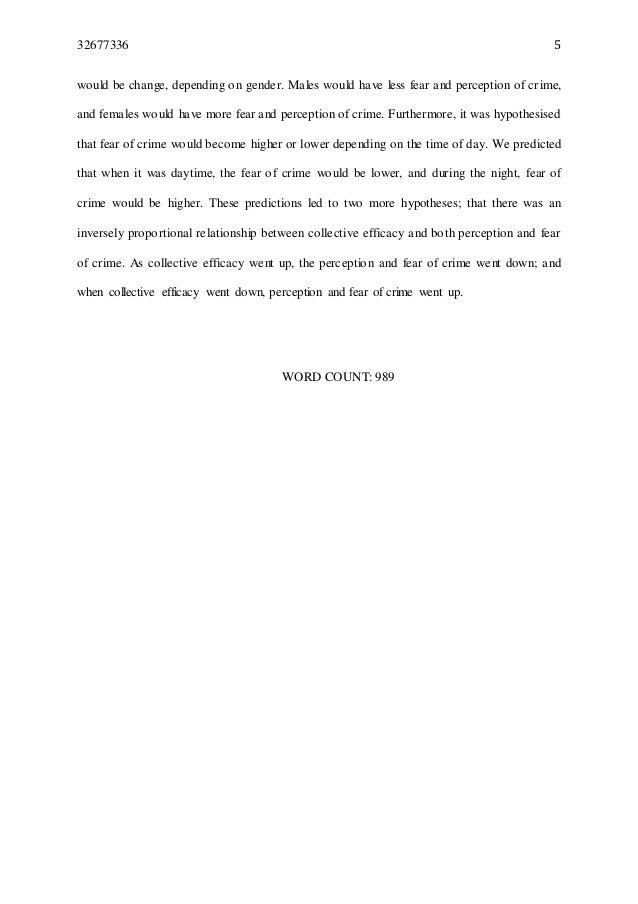 fear of crime dissertation The fear of crime refers to the fear of being a victim of crime as opposed to the  actual probability of being a victim of crime the fear of crime, along with fear of  the.
